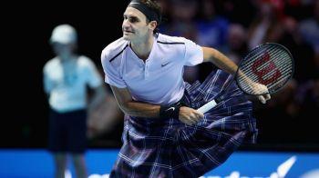 """Imagini FABULOASE cu Federer! A jucat tenis contra lui Murray intr-un kilt """"donat"""" de un fan! Clipul pe care trebuie sa-l vezi :))"""