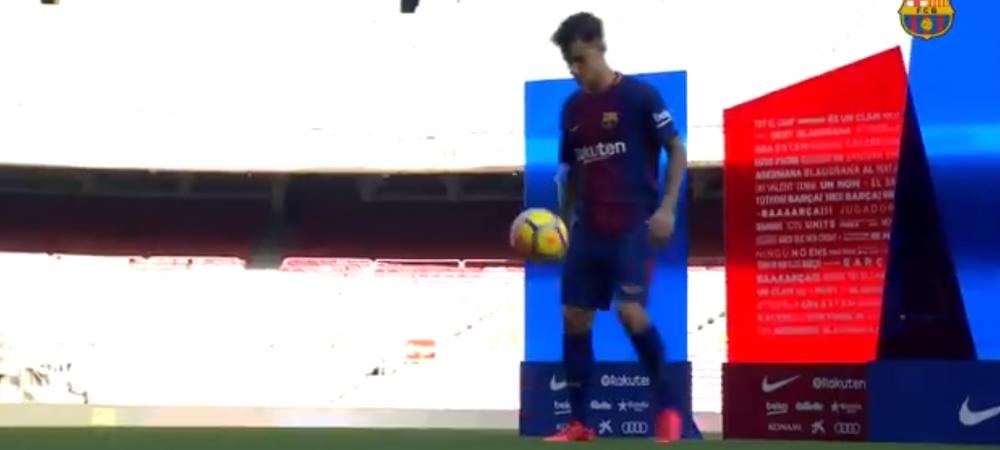 VIDEO Coutinho, prezentat oficial pe Camp Nou, in fata fanilor! Momentul asteptat de toata lumea: cum s-a descurcat la jonglerii :)