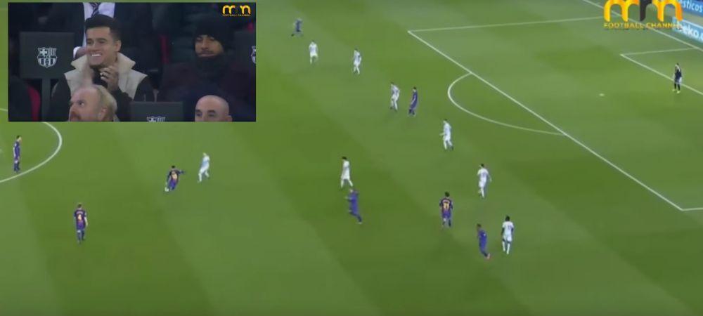 Dubla senzationala si un assist de pe alta planeta ale lui Messi! Coutinho a aplaudat din tribune victoria cu 5-0 a Barcelonei! VIDEO