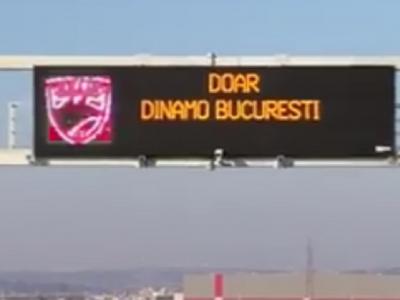 """""""Doar Dinamo Bucuresti"""". Ultrasii lui Dinamo au OCUPAT o autostrada din Romania! Aparitie complet neasteptata pe un panou electronic"""