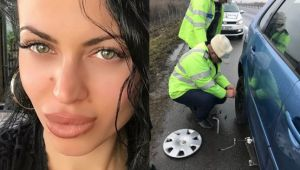 Bruneta sexy la ananghie! Doi politisti s-au oprit pe autostrada pentru a-i schimba pneul. Am aflat cine e tanara