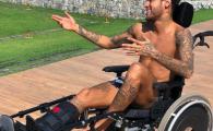 Gluma deplasata a lui Neymar, o mare controversa pe net: pare ca il imita pe Stephen Hawking in scaunul cu rotile!