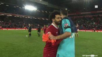 Salah s-a dus TINTA la portarul lui Watford caruia i-a dat PATRU goluri! Imaginile surprinse dupa partida: ce i-a spus jucatorul lui Liverpool