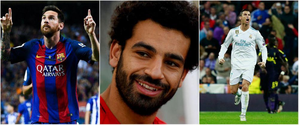 Faraonul Egiptului vs. Zeul fotbalului! Salah, peste Messi in clasamentul Ghetei de Aur; Ronaldo a intrat in TOP 10. Cum arata TOPUL