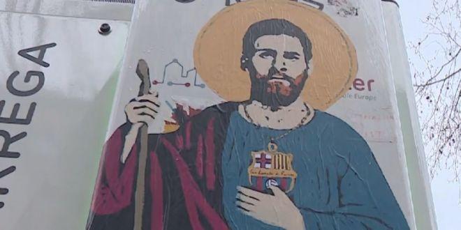 Messi, ridicat la rangul de  sfant  in Barcelona! Imaginea aparuta in centrul orasului | VIDEO