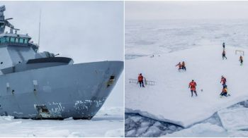 Imaginea saptamanii! Echipajul unui spargator de gheata norvegian a coborat pe o bucata de gheata plutitoare si a incins o miuta