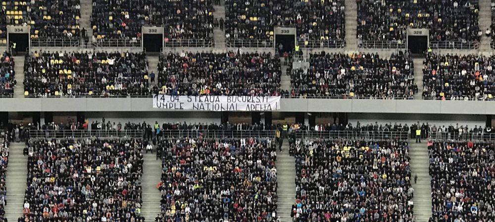 "FOTO | Ultrasii CSA Steaua au ""sabotat"" meciul FCSB - Craiova! Ce banner au afisat in repriza a doua, la tribuna"