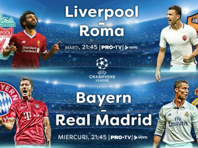 Saptamana de fotbal la PRO TV si PRO X: Liverpool - AS Roma, Bayern Munchen - Real Madrid, Arsenal - Atletico