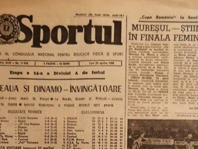 FOTO: Cum arata prima pagina din ziarul Sportul in urma cu 30 de ani! Steaua si Dinamo, singurele echipe care mai sunt in Liga 1
