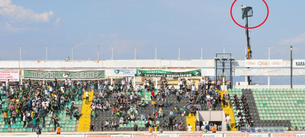 Era interzis pe stadion, dar a venit cu MACARAUA la meci! Imaginea zilei in Turcia. FOTO