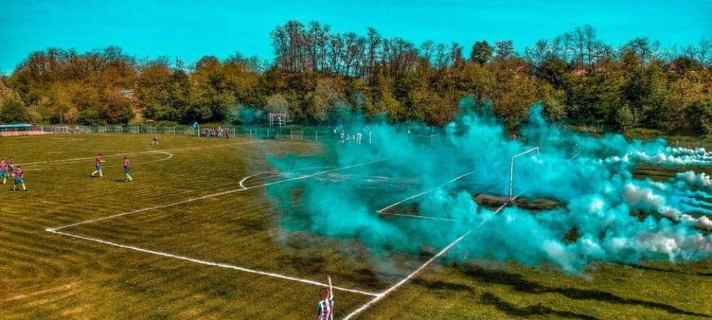 Torte si filmare cu DRONA in liga a 5-a din Romania! Moment UNIC in fotbalul invizibil din Romania