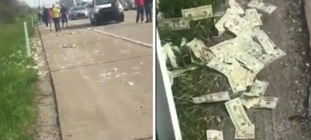 Haos pe autostrada, dupa ce o masina care transporta bani a scapat un sac cu 600.000$! Cum au reactionat oamenii