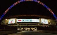 Arcul de pe Wembley a fost luminat in culorile steagului Romaniei inainte de finala Cupei Angliei