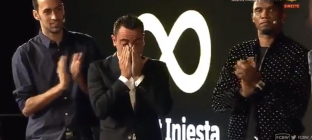 Imagini emotionante: Xavi a izbucnit in lacrimi la discursul lui Iniesta de la despartirea de Barca! Mesajul pe care i l-a transmis