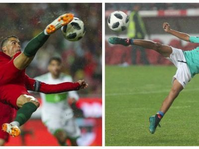 L-a invatat bine :) SUPERVIDEO: Cristiano Jr, aplaudat de intreg stadionul la un gol din foarfeca, la Portugalia - Algeria