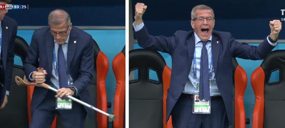 Imaginea zilei la Mondial: selectionerul a renuntat la carje de bucurie, la golul Uruguayului! Drama lui Oscar Tabarez