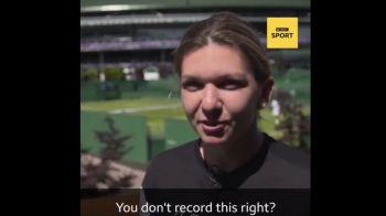 "SIMONA HALEP, WIMBLEDON   Probleme pentru Simona cand a fost rugata sa recunoasca un colaj cu Messi: ""Sa nu inregistrati asta, da?"" :))"