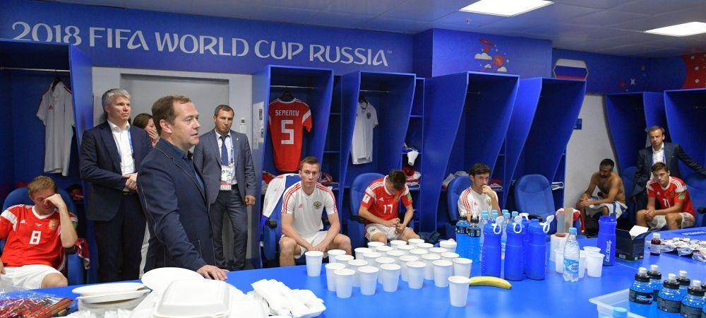 REACTIA lui Vladimir Putin dupa ce Rusia a fost eliminata de la Cupa Mondiala! Medvedev a facut anuntul in vestiar imediat dupa meci