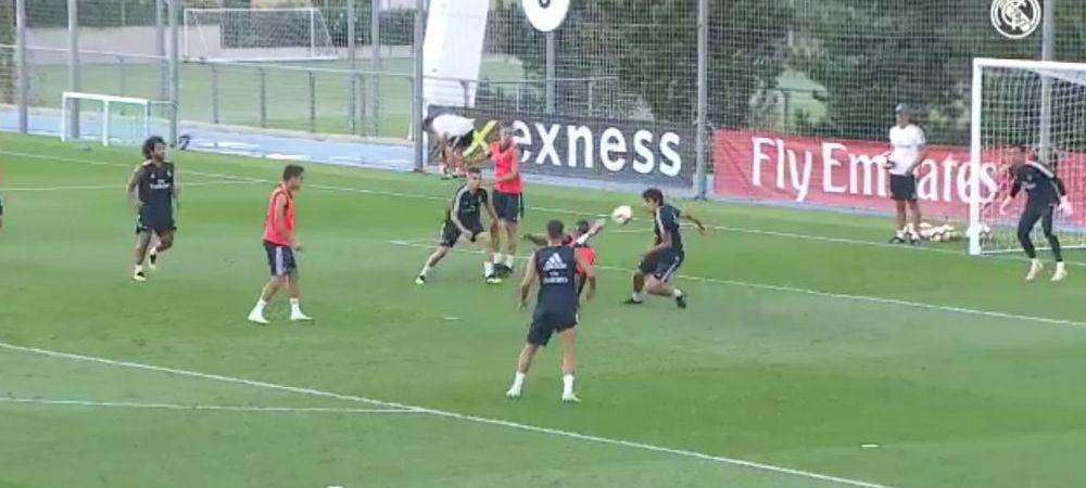 Acesta este noul GALACTIC de la Real Madrid! Gol fantastic reusit de Vincius la antrenament: stop pe piept si foarfeca! VIDEO