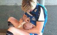 Imaginea zilei in sport are in prim plan o romanca! Handbalista Irina Pop si-a alaptat copilul IN PAUZA MECIULUI in care a fost cea mai buna marcatoare