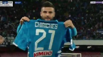 A dat gol si imediat a luat tricoul lui Chiriches! Gestul extraordinar al lui Insigne dupa reusita cu Parma