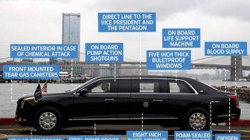 """Cum arata """"BESTIA"""" lui Trump! Noua limuzina a presedintelui SUA e blindata, rezista atacurilor chimice si poate sa traga cu gaze lacrimogene! FOTO"""