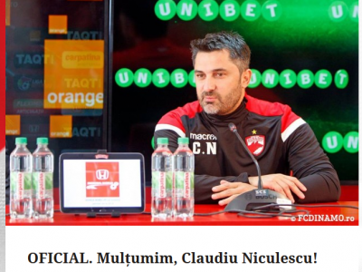 NICULESCU OUT DE LA DINAMO | Clubul ii multumeste OFICIAL lui Niculescu dupa ce l-a dat afara la 20 de zile dupa ce l-a numit antrenor. :)) Explicatia clubului