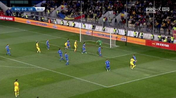 Romania U21 - Liechtenstein U21, Ianis Hagi rateaza prima ocazie a meciului