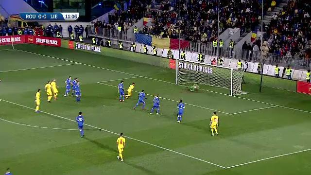 Romania U21 - Liechtenstein U21, ocazie Puscas cu o lovitura de cap