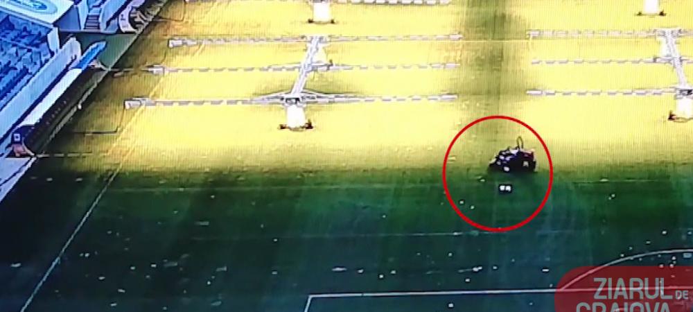 Imagini INCREDIBILE! Un barbat a patruns pe stadionul Ion Oblemenco si a DISTRUS gazonul cu masina de tuns iarba! VIDEO