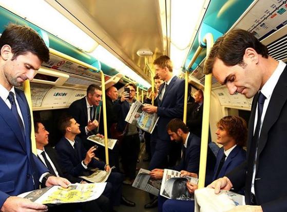 Supriza la metroul din Londra! Cei mai buni tenismeni ai lumii au facut senzatie, imbracati la costum   FOTO VIRALE