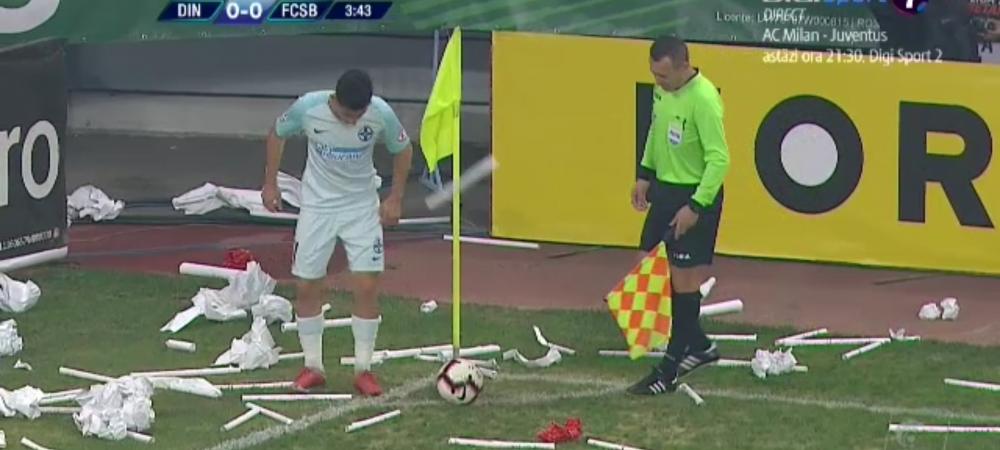 Dinamo - FCSB | I-a luat DOUA minute sa bata cornerul! Morutan, BOMBARDAT de suporterii lui Dinamo. Ce s-a intamplat