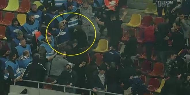 Moment socant la Arena Nationala! Un suporter FCSB este facut KO la meciul cu Dinamo