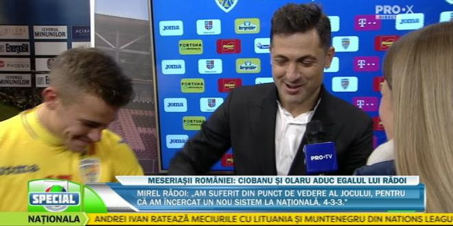 ROMANIA - BELGIA 3-3   Moment GENIAL cu Radoi in direct la Pro X! Ce i-a facut lui Olaru dupa RACHETA la vinclu:  Nu cred ca a vrut sa dea acolo!  :))