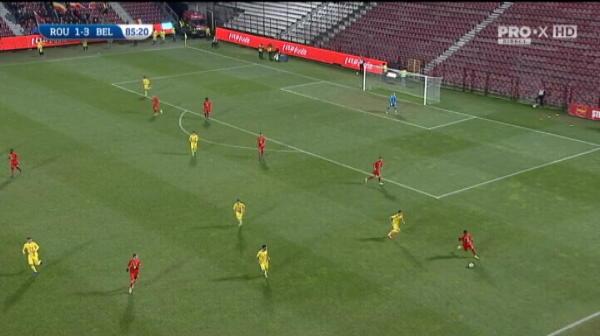 Florinel Coman rateaza singur cu portarul Belgiei