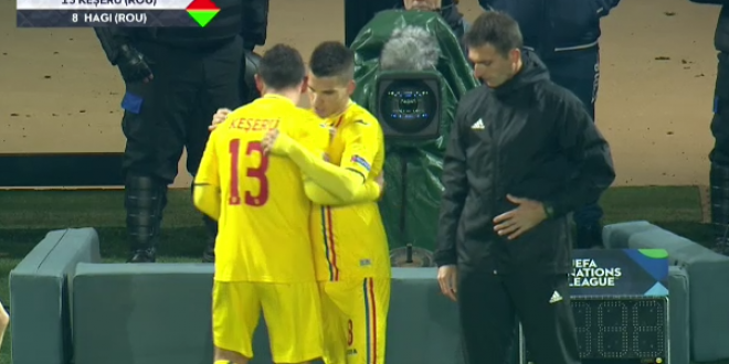 VIDEO   Moment istoric: Ianis debuteaza pentru nationala la 35 de ani de la debutul tatalui sau! Primele minute pentru Hagi jr in tricoul Romaniei