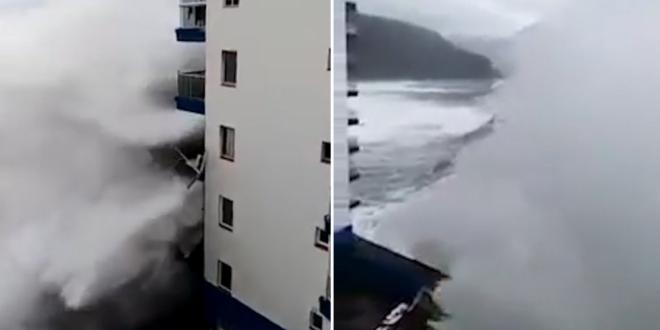 VIDEO Valuri devastatoare in Tenerife: momentul in care izbesc balcoanele unui hotel