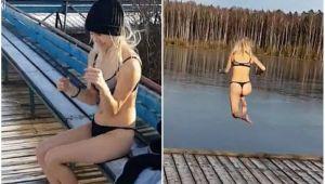 Blonda din bancuri traieste in realitate :)) Ce a putut sa pateasca o rusoaica atunci cand a sarit in lac