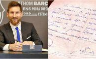 FOTO FABULOS! Primul contract al lui Messi cu Barcelona, semnat pe un servetel! Imaginea a fost publicata la 18 ani de la acel moment