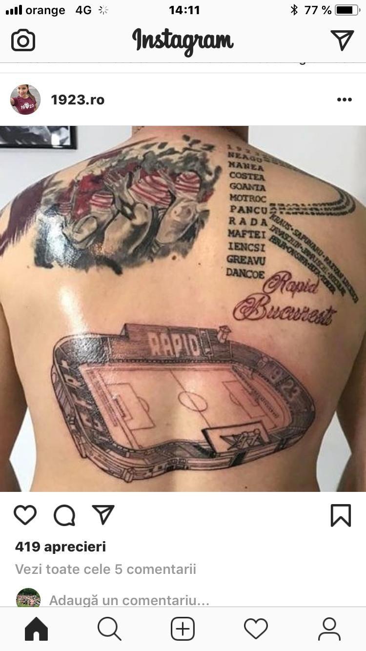 Cel mai nebun tatuaj de suporter: un rapidist si-a desenat istoria clubului pe spate // FOTO