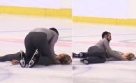 Moment horror in patinaj: a lesinat dupa ce a fost scapata in cap de partener