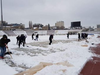 Mobilizare generala: suporterii dinamovisti au dat zapada la lopata, sa se poata juca meciul contra Craiovei