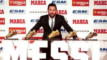 Reactia lui Messi dupa ce a castigat a cincea Gheata de Aur si l-a detronat pe Ronaldo! Argentinianul e jucatorul cu cele mai multe astfel de trofee