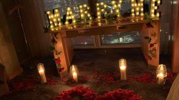 Rotariu a spus 'DA' in cel mai important moment al vietii! Cerere in casatorie la etajul 52! FOTO