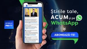 Stirile ProTv.ro lanseaza newsletter-ul pentru telefonul mobil. Gratuit, prin WhatsApp: 0751 121 112
