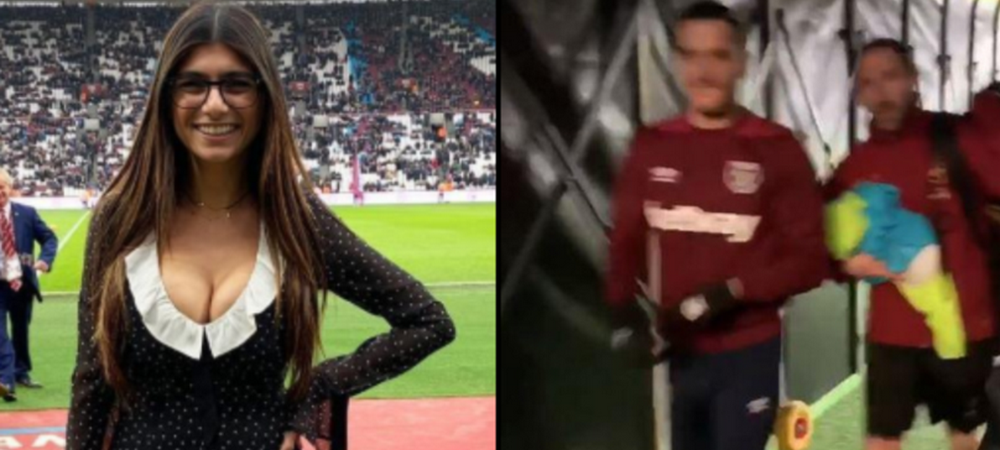 Jucatorii lui West Ham nu s-au putut abtine! Cum au reactionat cand au vazut-o pe Mia Khalifa pe tunelul spre vestiare! FOTO