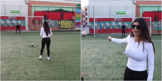 Am jucat fotbal pentru prima data in viata mea  Starleta Mia Khalifa a dat fotbalul american pe sportul rege! Cum s-a descurcat :) VIDEO