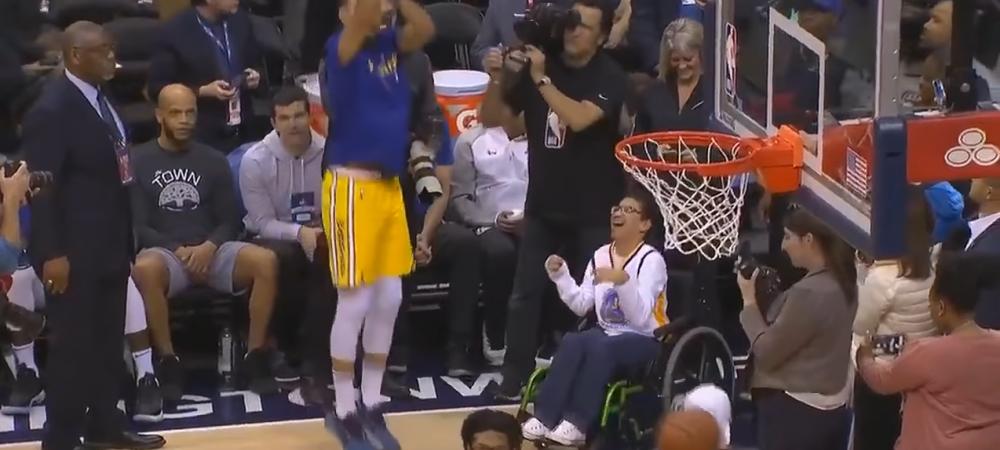 Gestul superb al lui Stephen Curry inainte sa-i DISTRUGA pe cei de la Washington Wizards! Ce a facut pentru un pusti aflat in scaun cu rotile