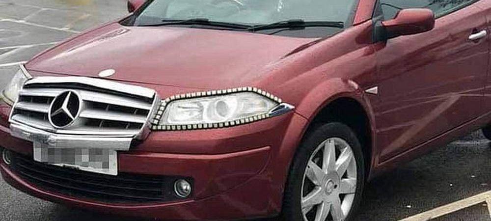 "A transformat un Renault in Mercedes si s-a facut de ras. Imaginea s-a viralizat rapid: ""Cel mai urat tuning"" FOTO"