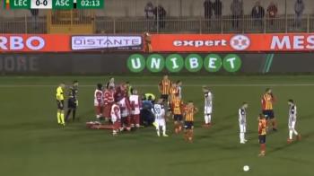 Momente de groaza la un meci din Italia! Partida, SUSPENDATA dupa o accidentare in secunda 5: un jucator a ramas inconstient pe gazon | VIDEO